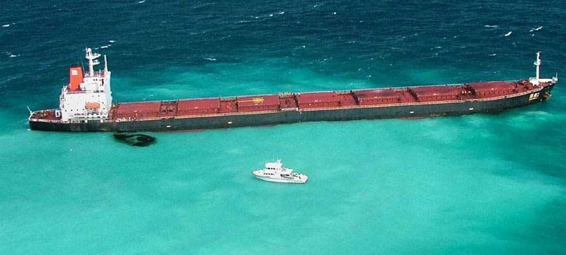 Freight ship damaged Great Barrier Reef